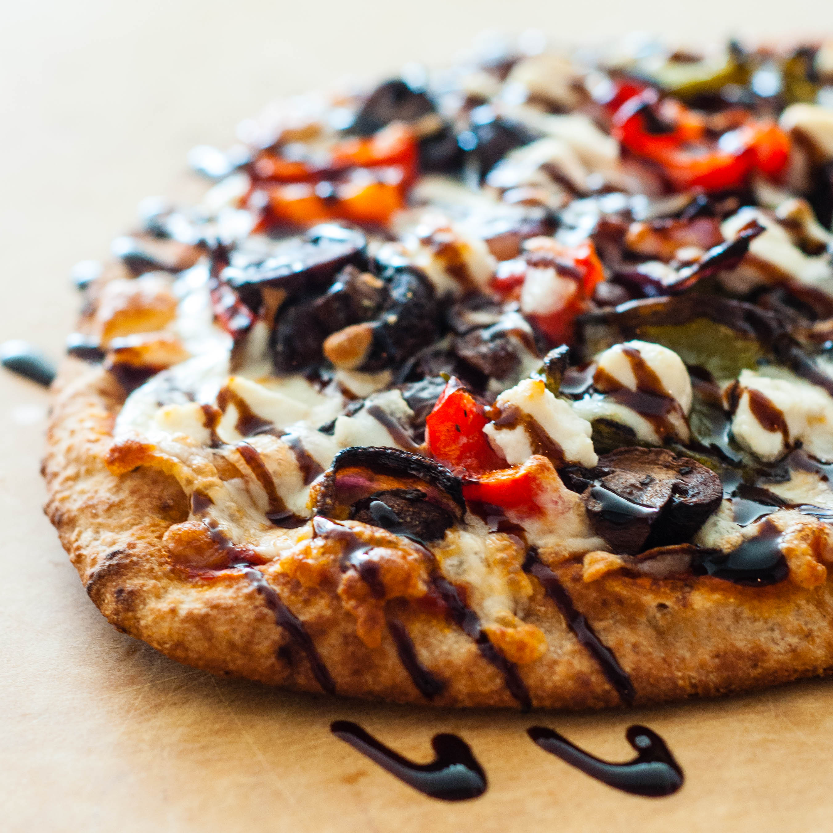 Roasted vegetable naan pizzas