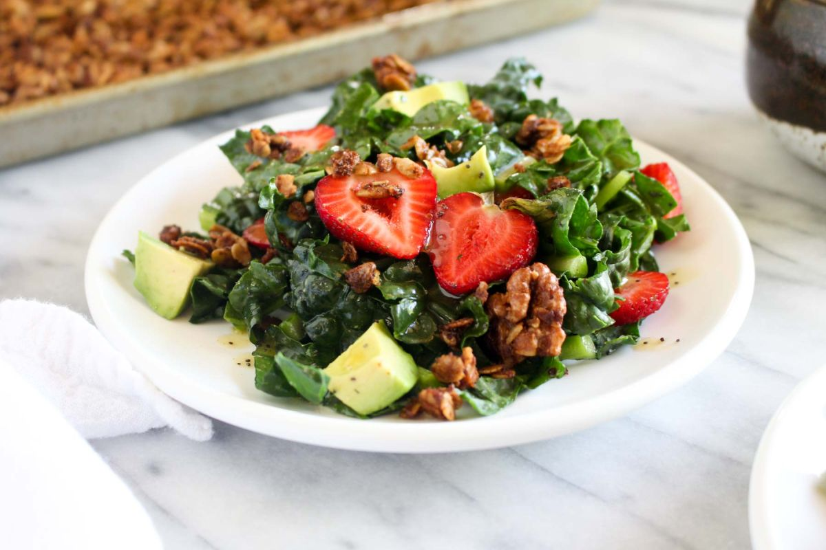 Strawberry avocado kale salad with savory granola easy recipe