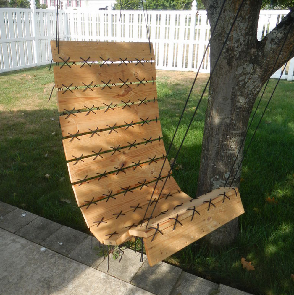 Wooden pallet hanging chair