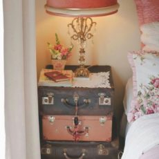 Antique suitcase side table diy