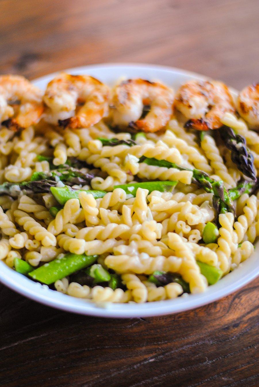 Asparagus pasta shrimp