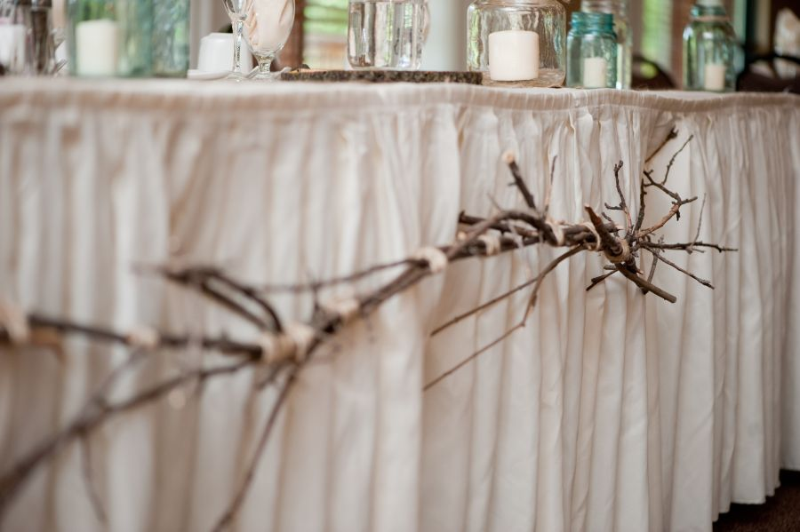 Branch table head decoration barn wedding