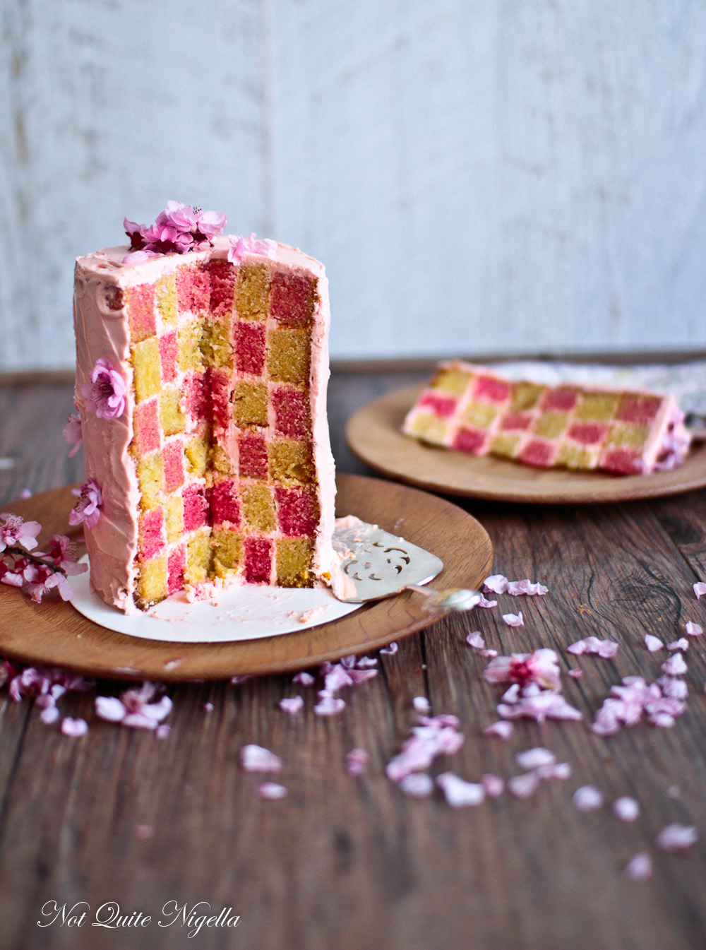 Cherry blossom checkerboard cake recipe