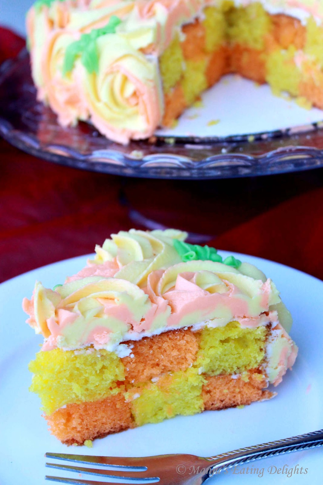 Citrus checkerboard cake recipe
