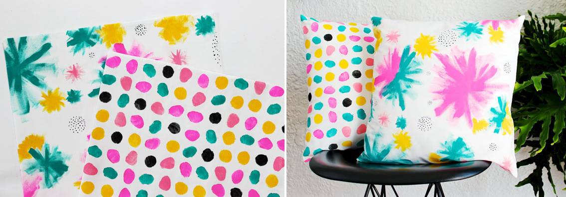 Colorful hand painted pillows
