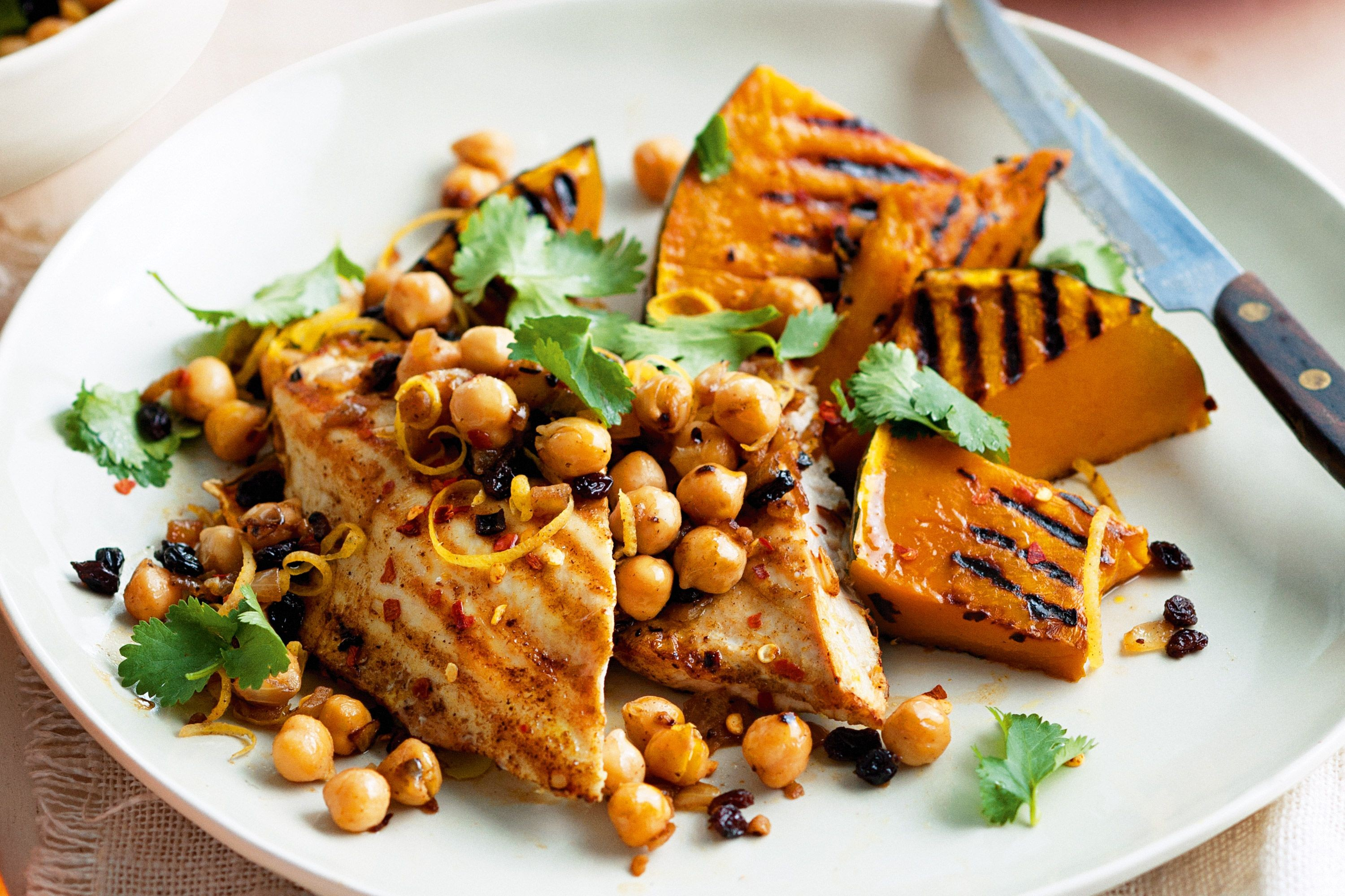Cumin chicken and pumpkin with warm chickpea salsa 64794 1