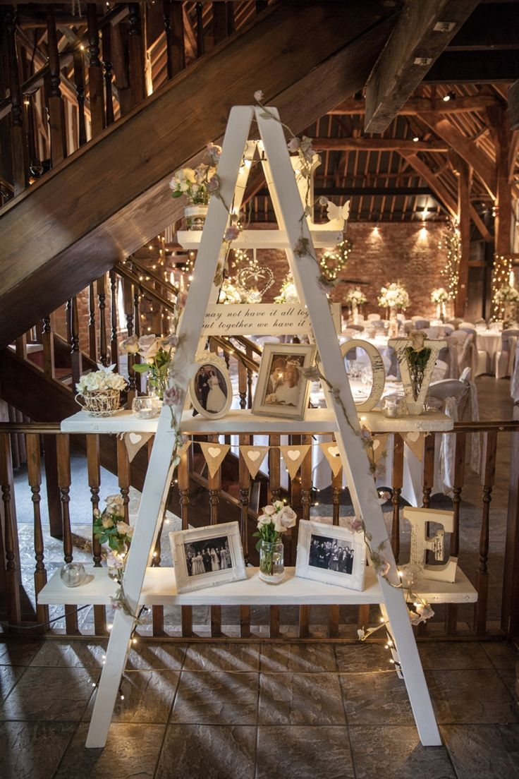 Diy barn wedding ladder display