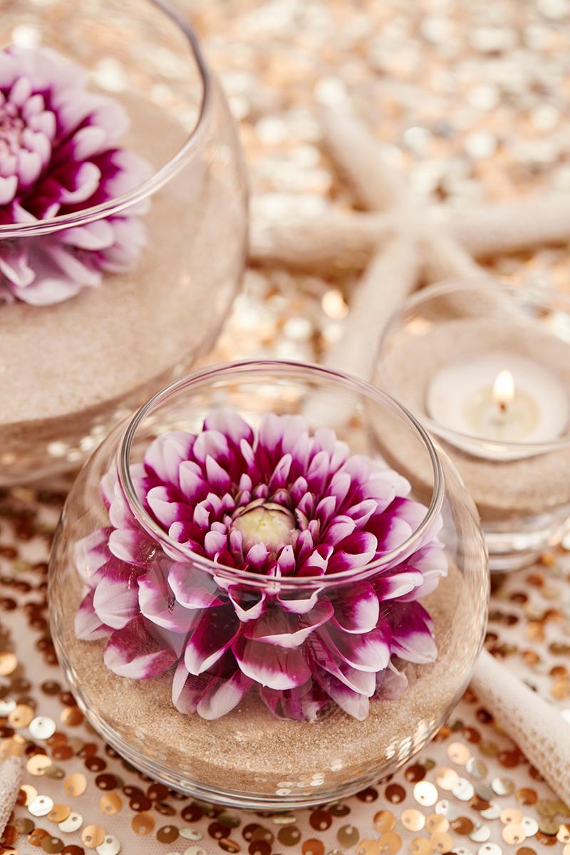 Diy flower and sand centerpiece