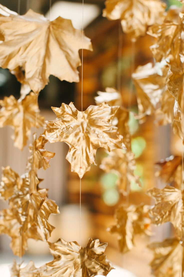 Diy gold leaf wedding decor
