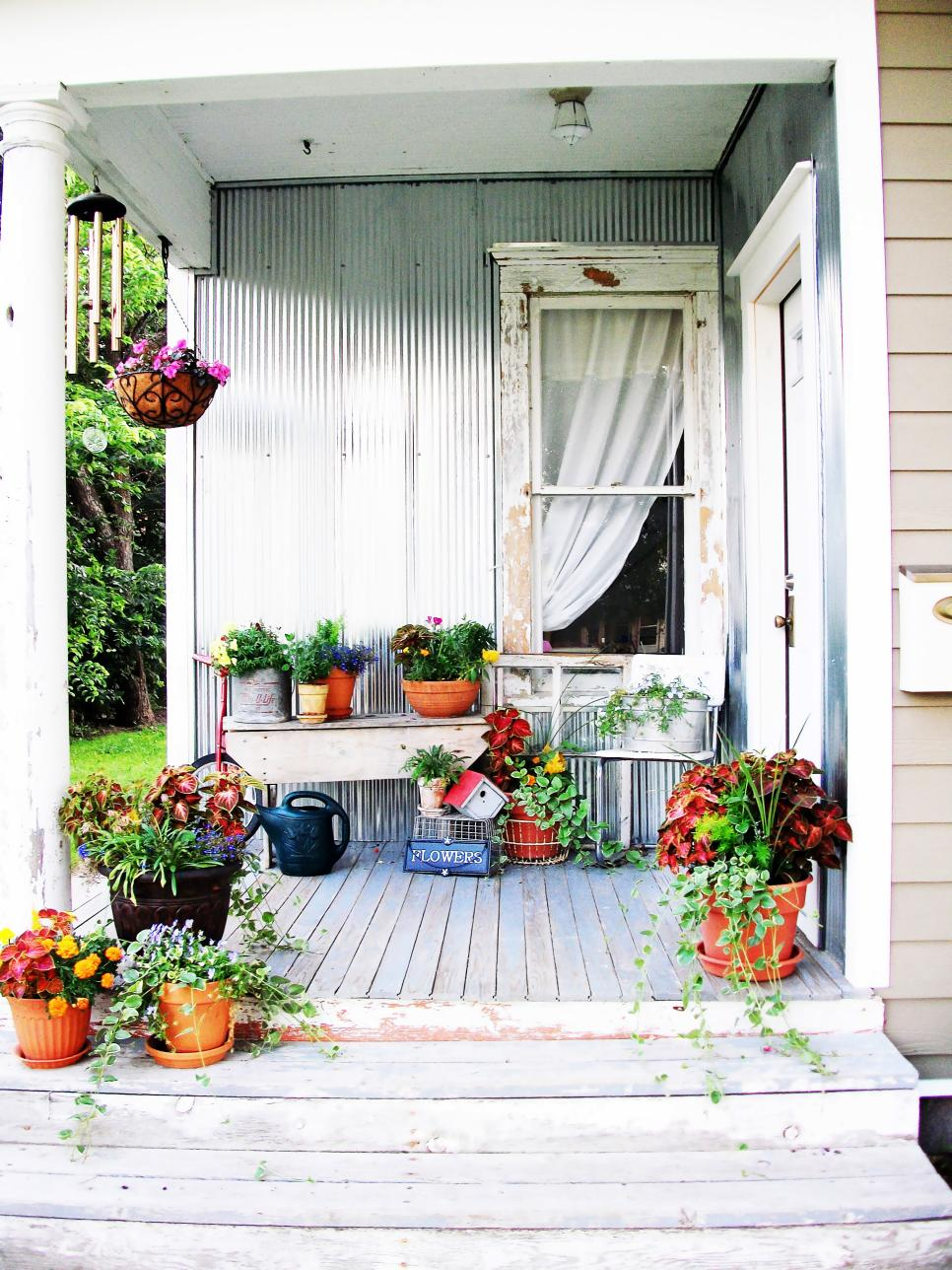 Diy mismatched plants front porch