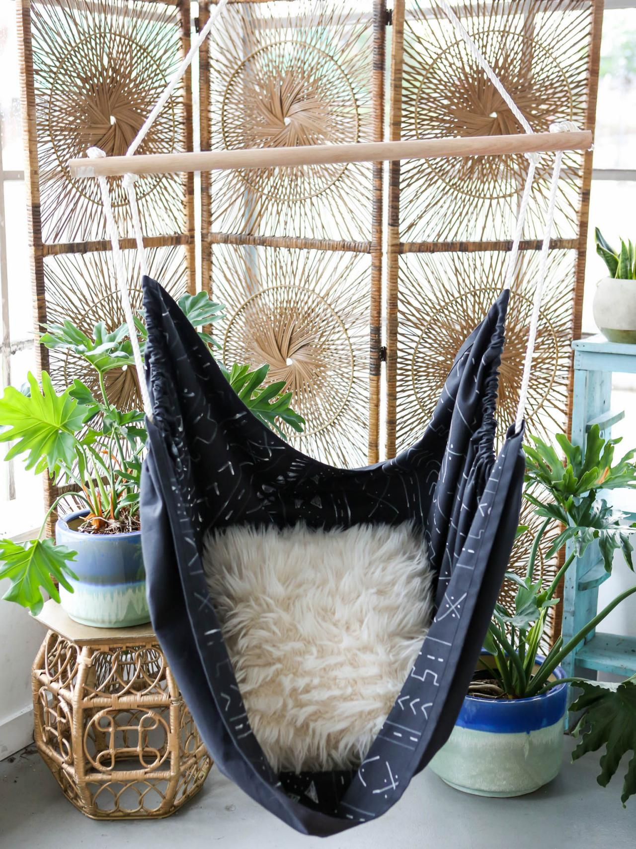 Diy mudcloth hanging swing