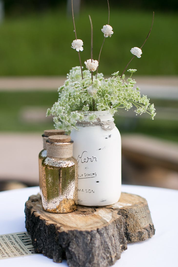 Diy painted mason jar centerpiece display