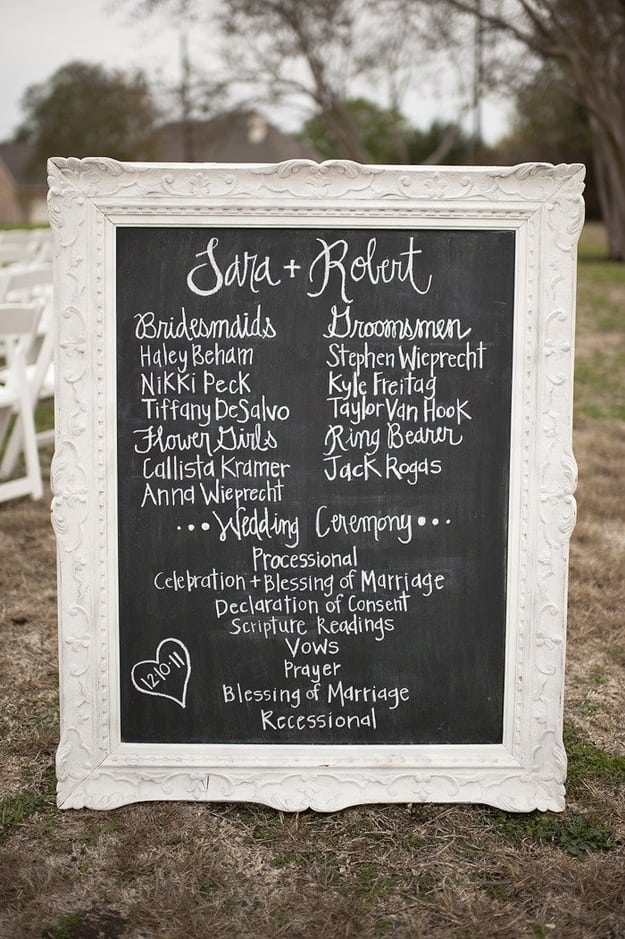 Diy rustic wedding chalkboard program