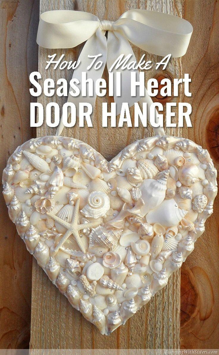 Diy seashell heart door hanger