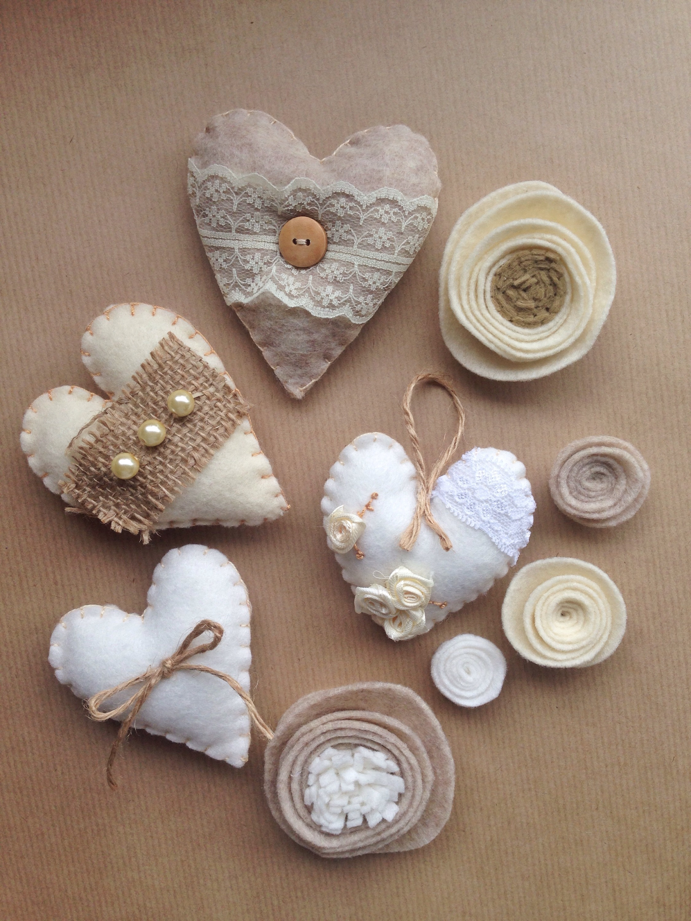 Diy shabby chic padded hearts