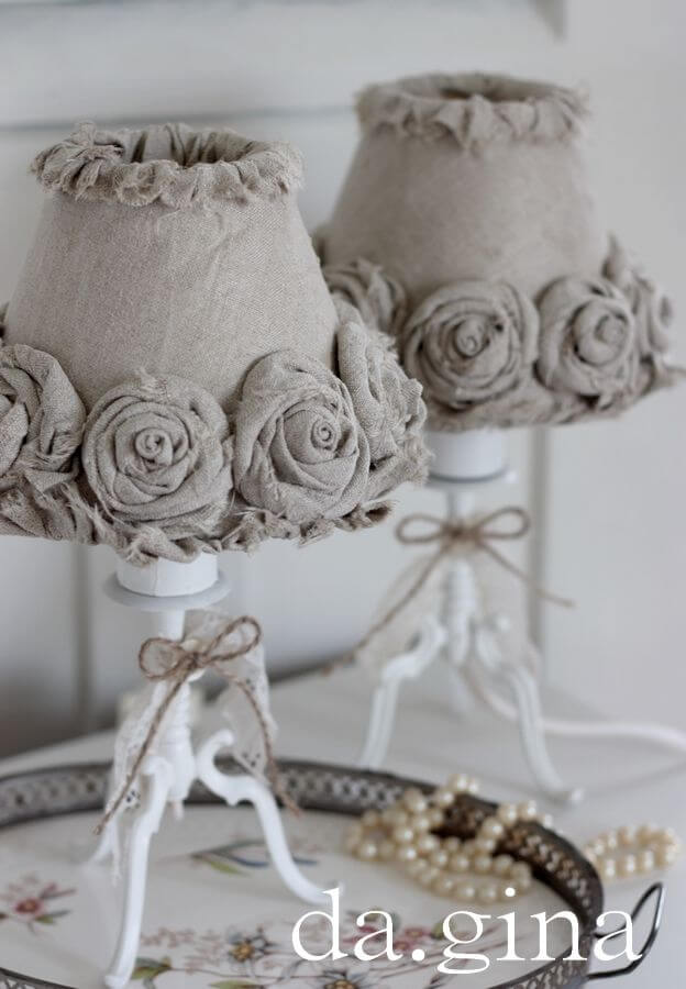 Fabric rosette lampshade diy