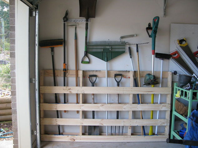 Garage storage for garden tools from old pallet garages pallet repurposing upcycling