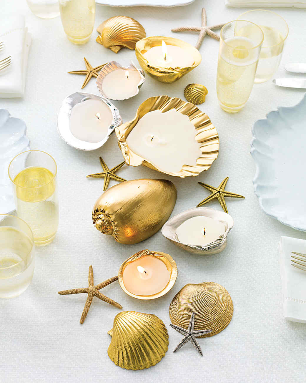 Golden seashell centerpiece diy
