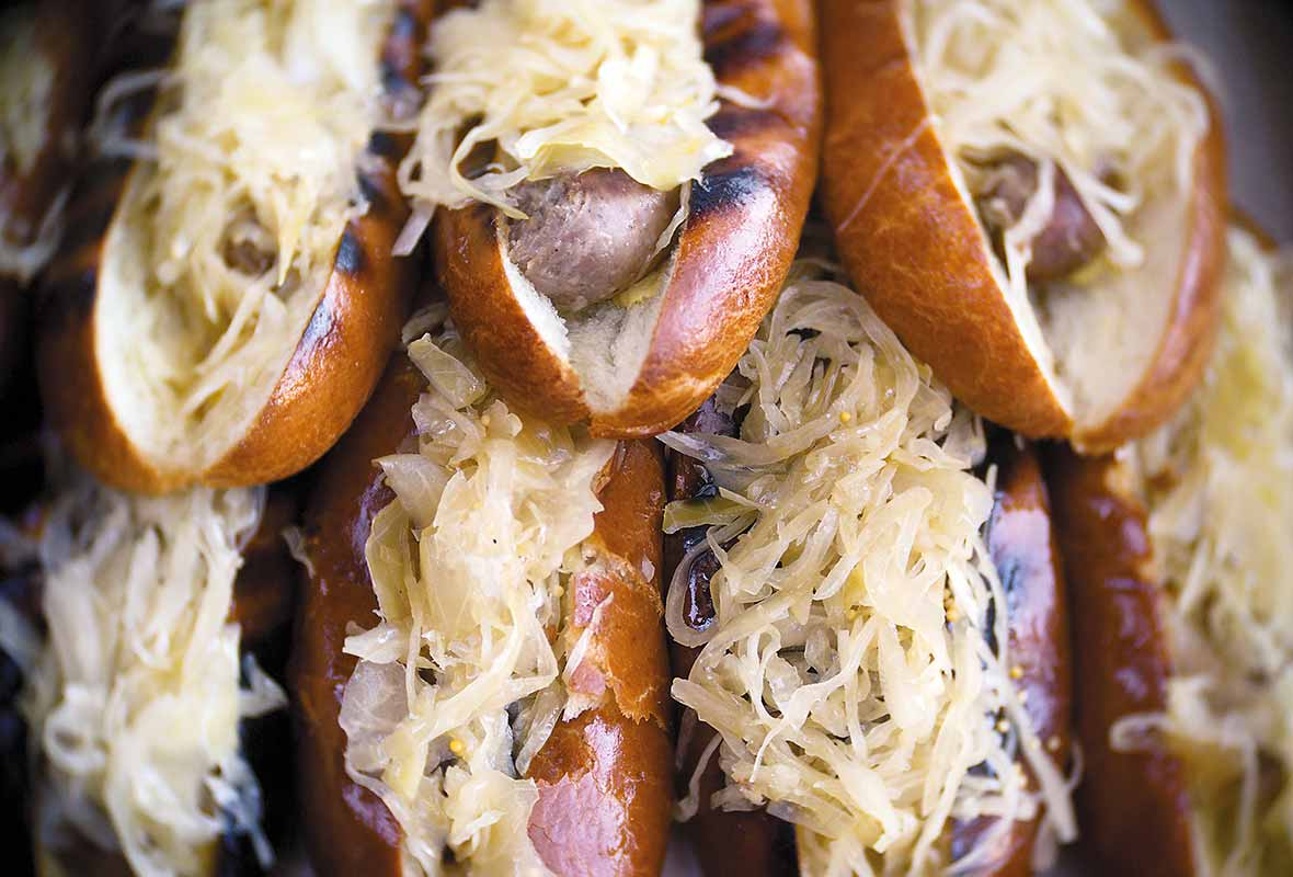 Grilled beer braised bratwursts recipe
