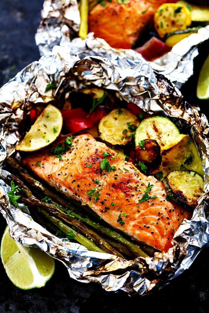 Grilled lime butter salmon in foil