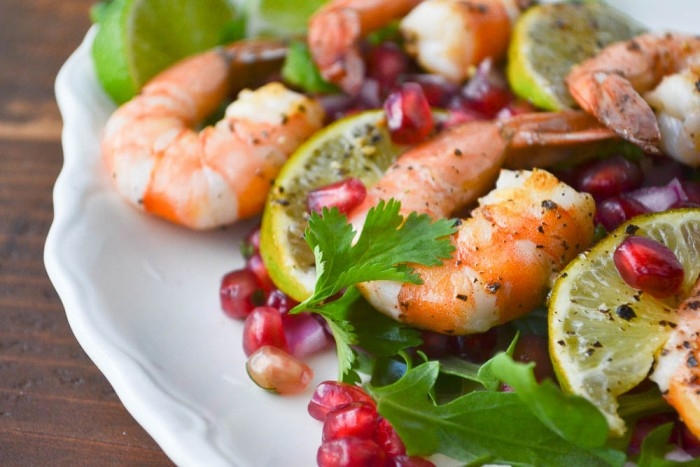 Grilled shrimp skewers with pomegranate salsa 24