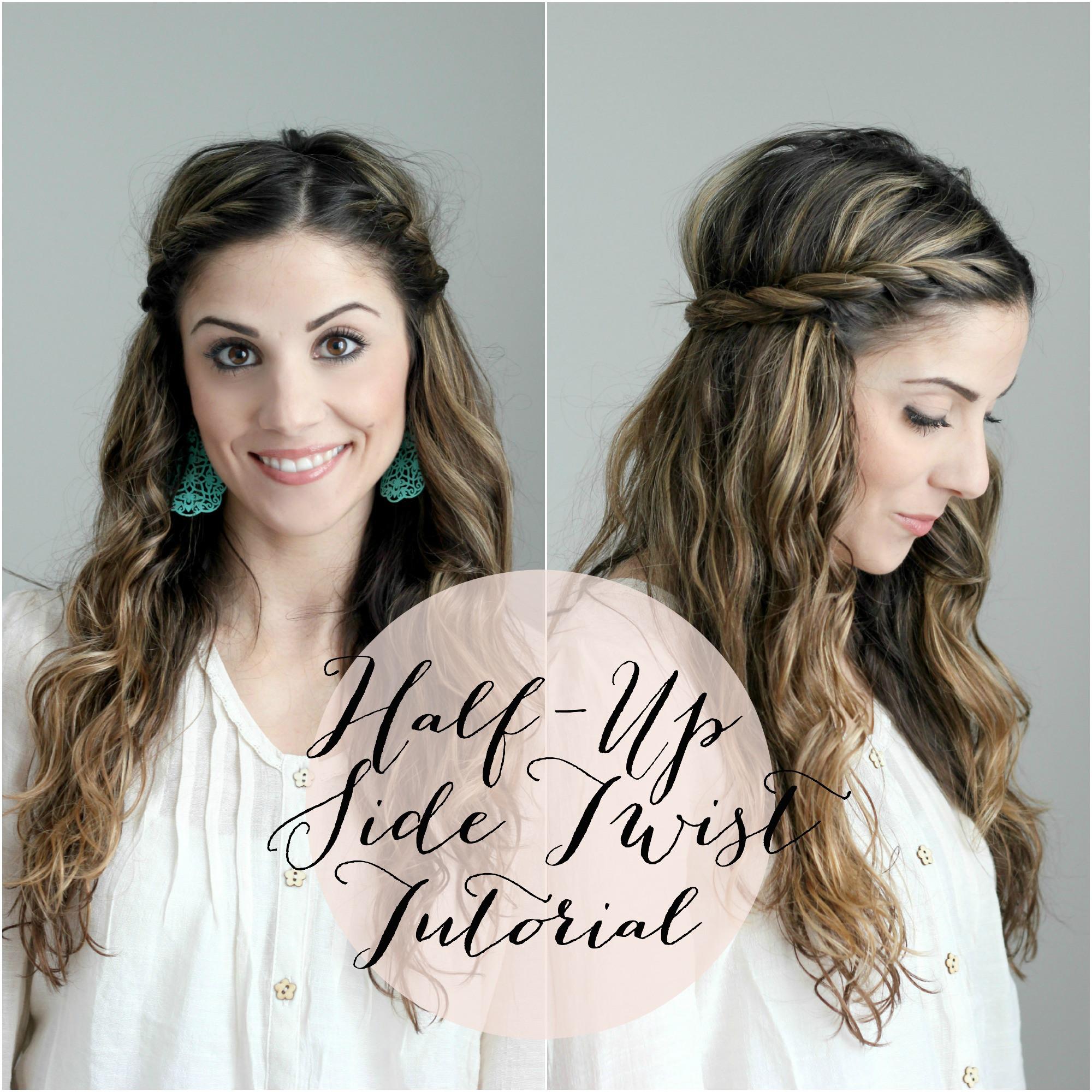Half up side twist hair