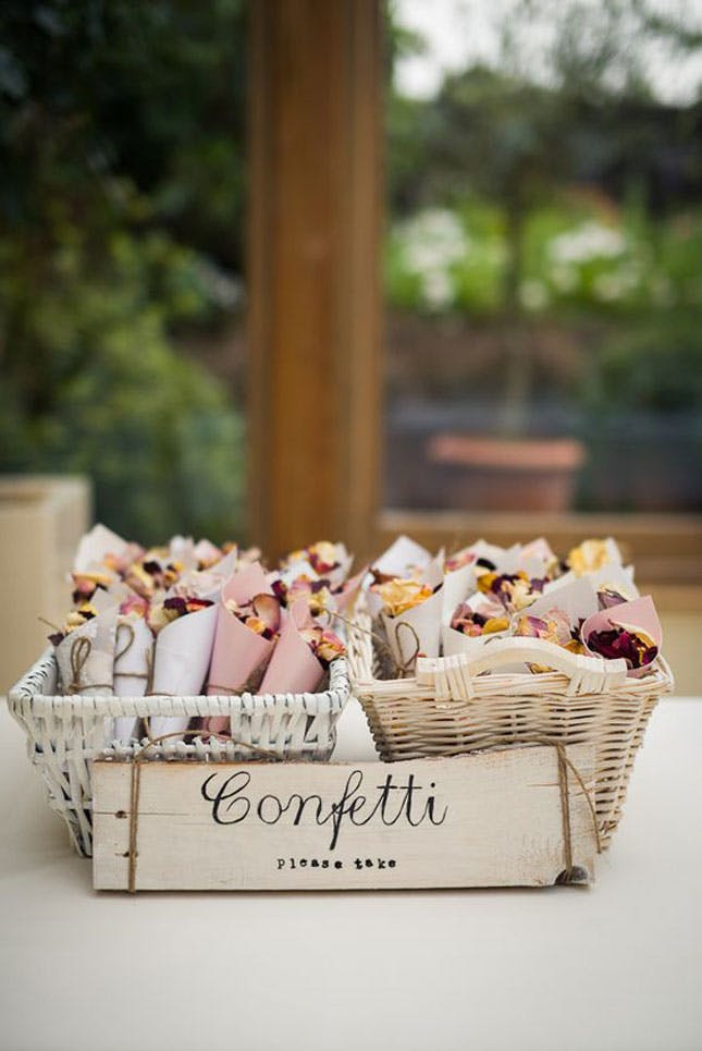 Home made confetti cones and sign