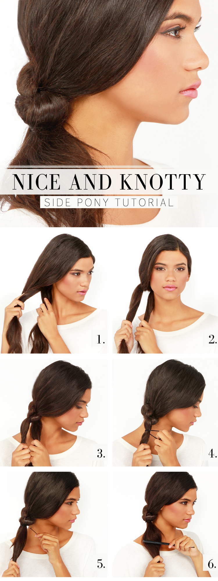 Knotty side ponytail tutorial