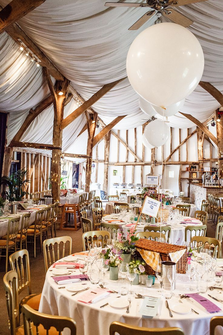 Large balloon centerpiece barn wedding diy
