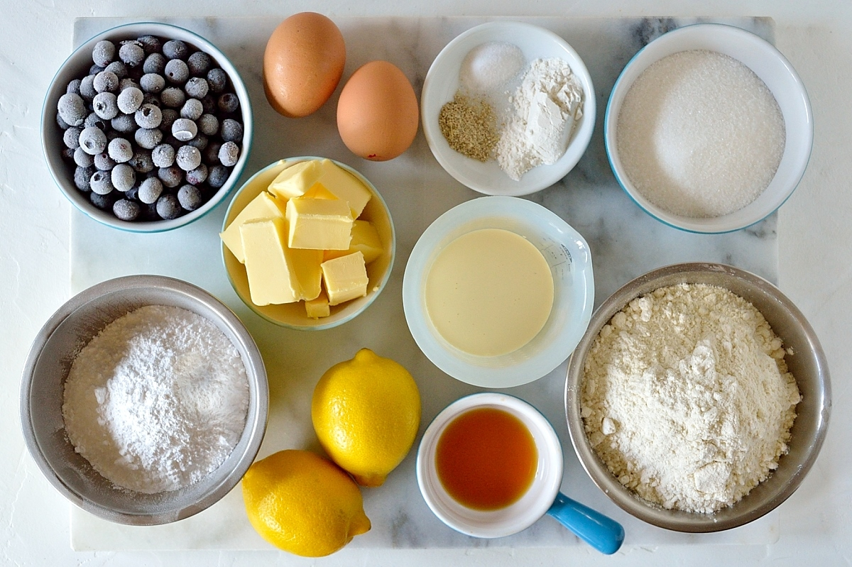Lemon blueberry cardamom scones ingredients