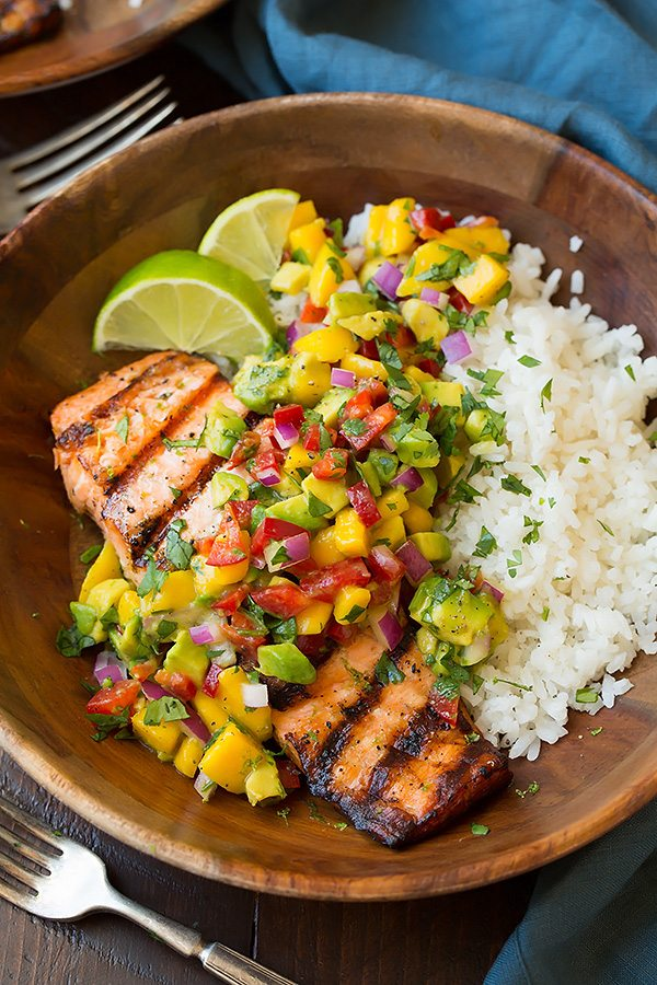Lime salmon mango avocado salsa coconut rice6