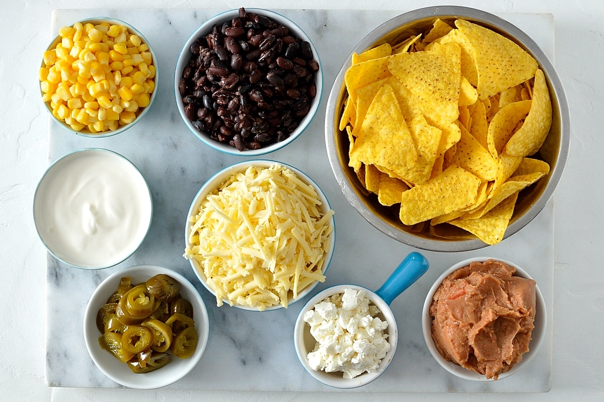 Loaded veggie nachos ingredients