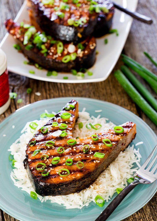 Maple soy grilled salmon steaks 1