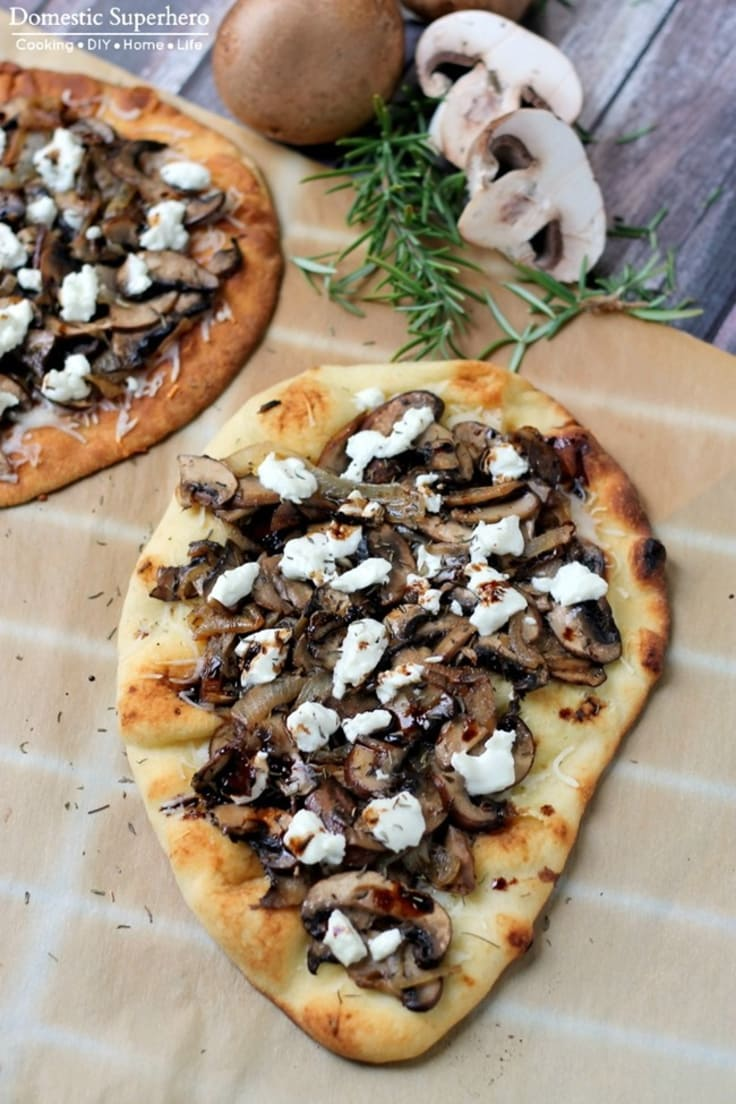 Mushroom and goat cheese naan bread pizza