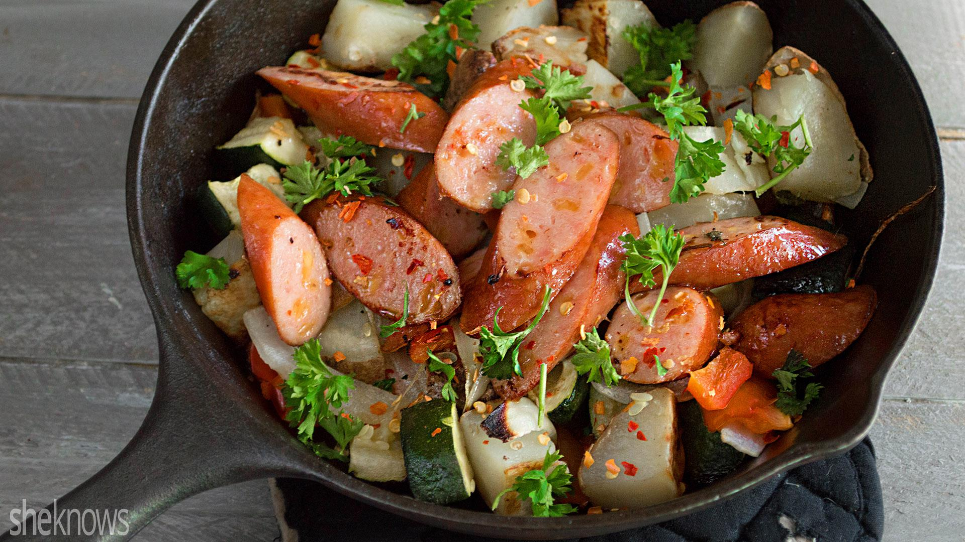 One pot spicy bratwurst vegetable skillet recipe