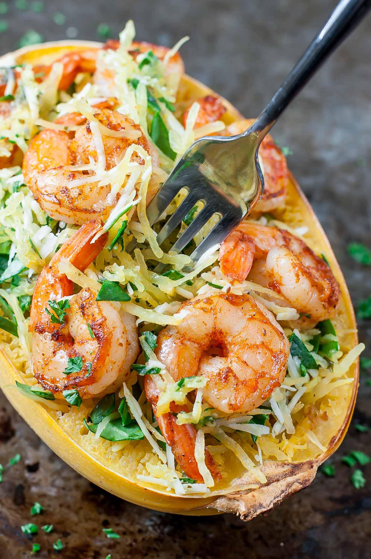 Pesto parmesan spaghetti squash shrimp recipe peasandcrayons 0144
