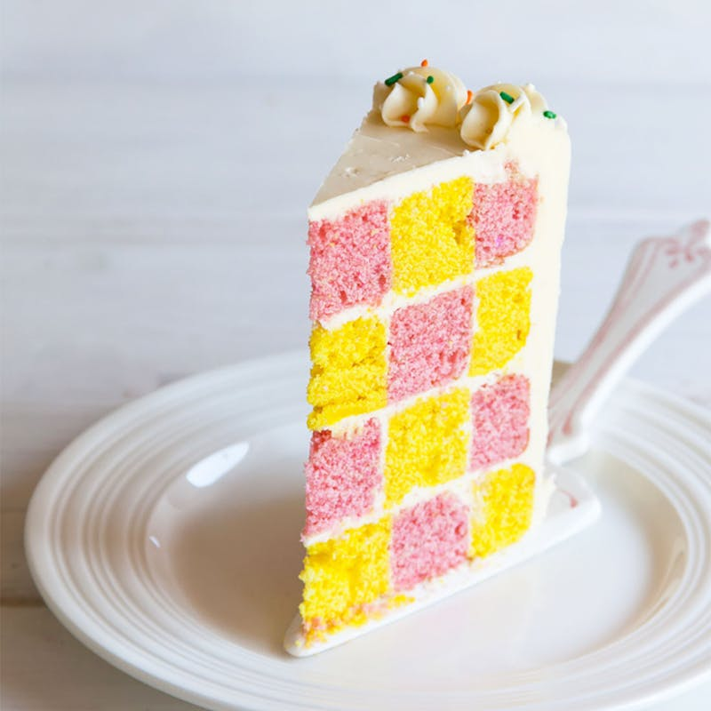 Pink and yellow checkerboard cake recipe