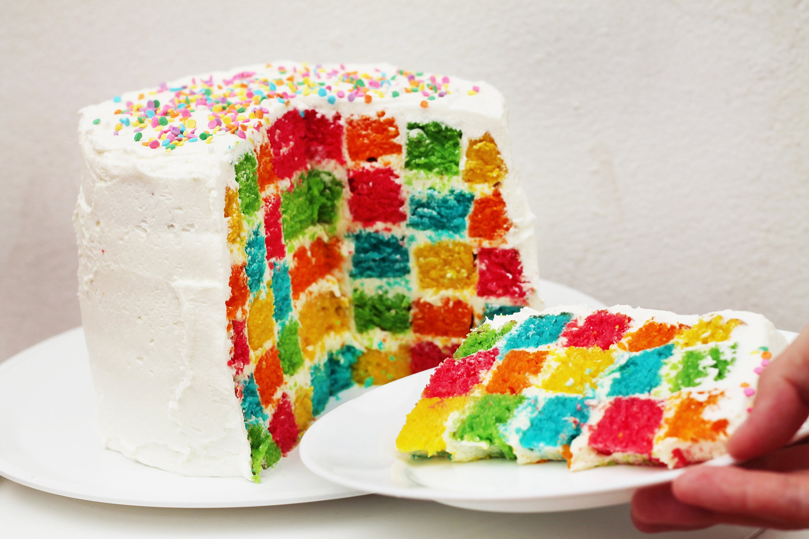 Rainbow checkerboard cake recipe