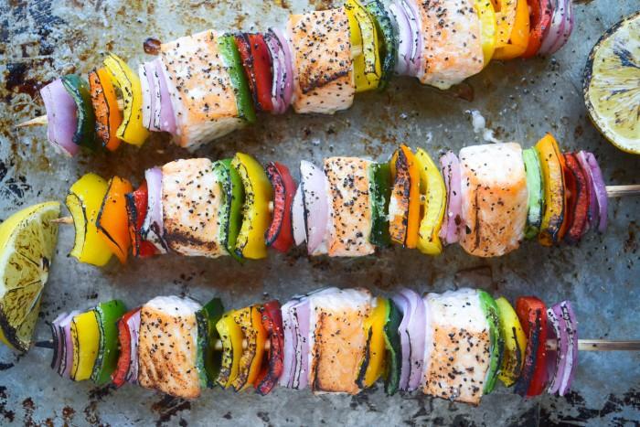 Rainbow salmon skewers