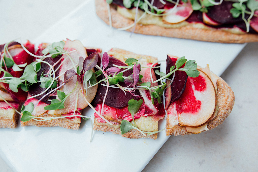Roasted beet and pear naan bread pizza
