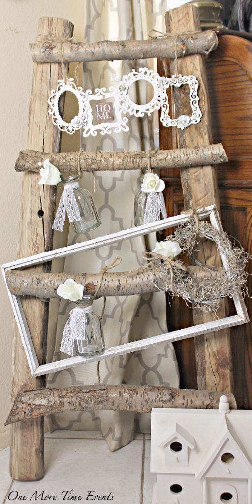 Rustic wood ladder decor diy
