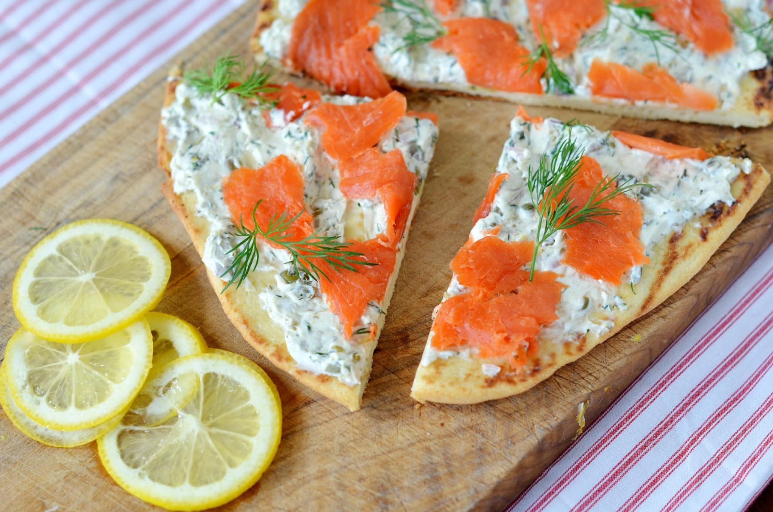 Salmon and cream cheese naan bread pizza