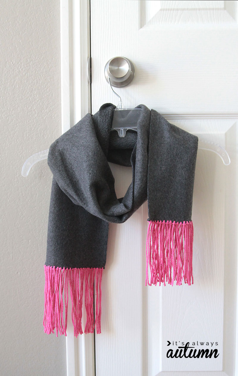 Scarf fleece and fringe easy no sew gift