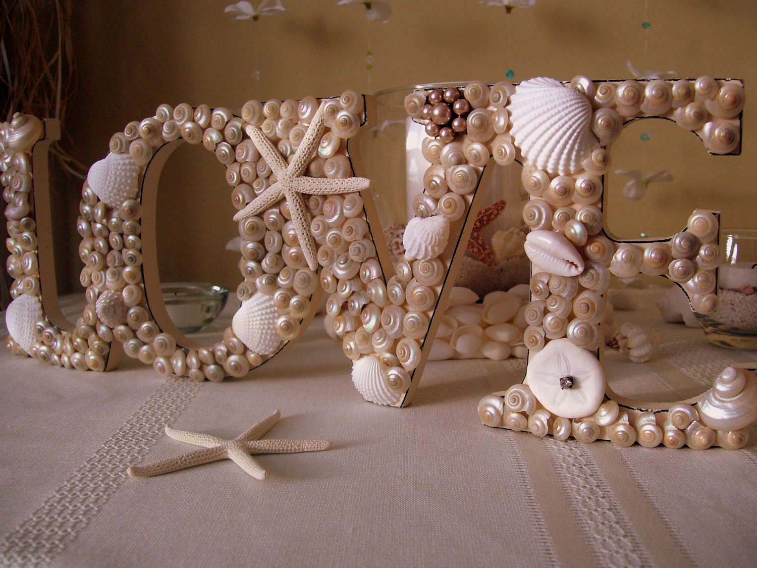 Seashell Covered Love Sign Beach Wedding Diy