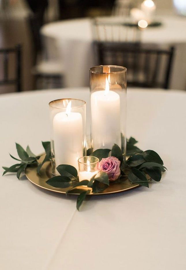 Simple romantic centerpieces