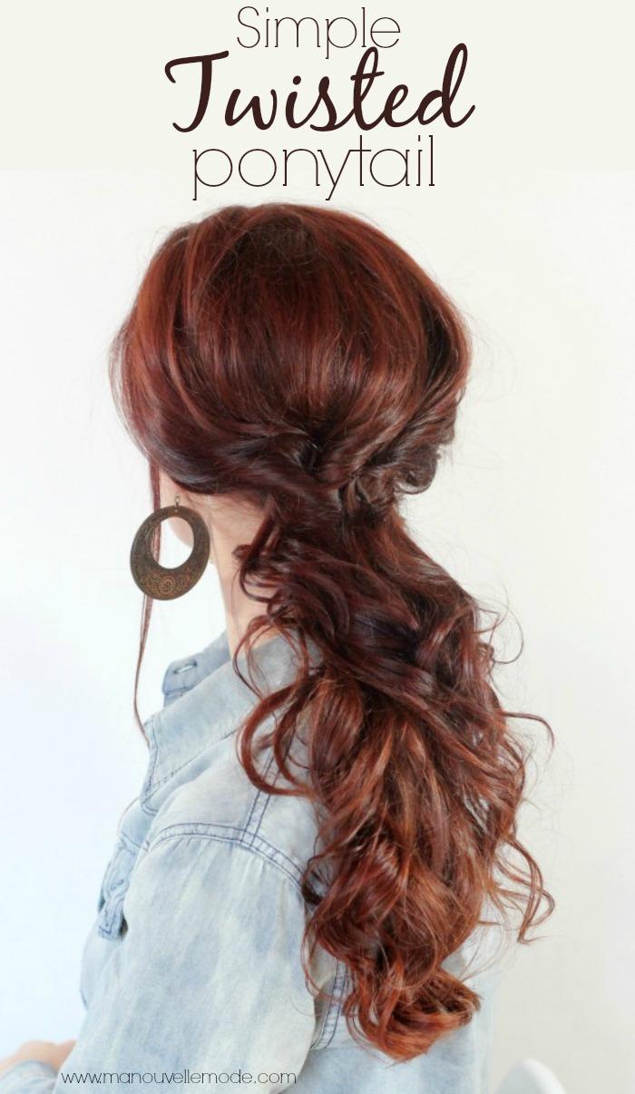 Simple twisted ponytail tutorial