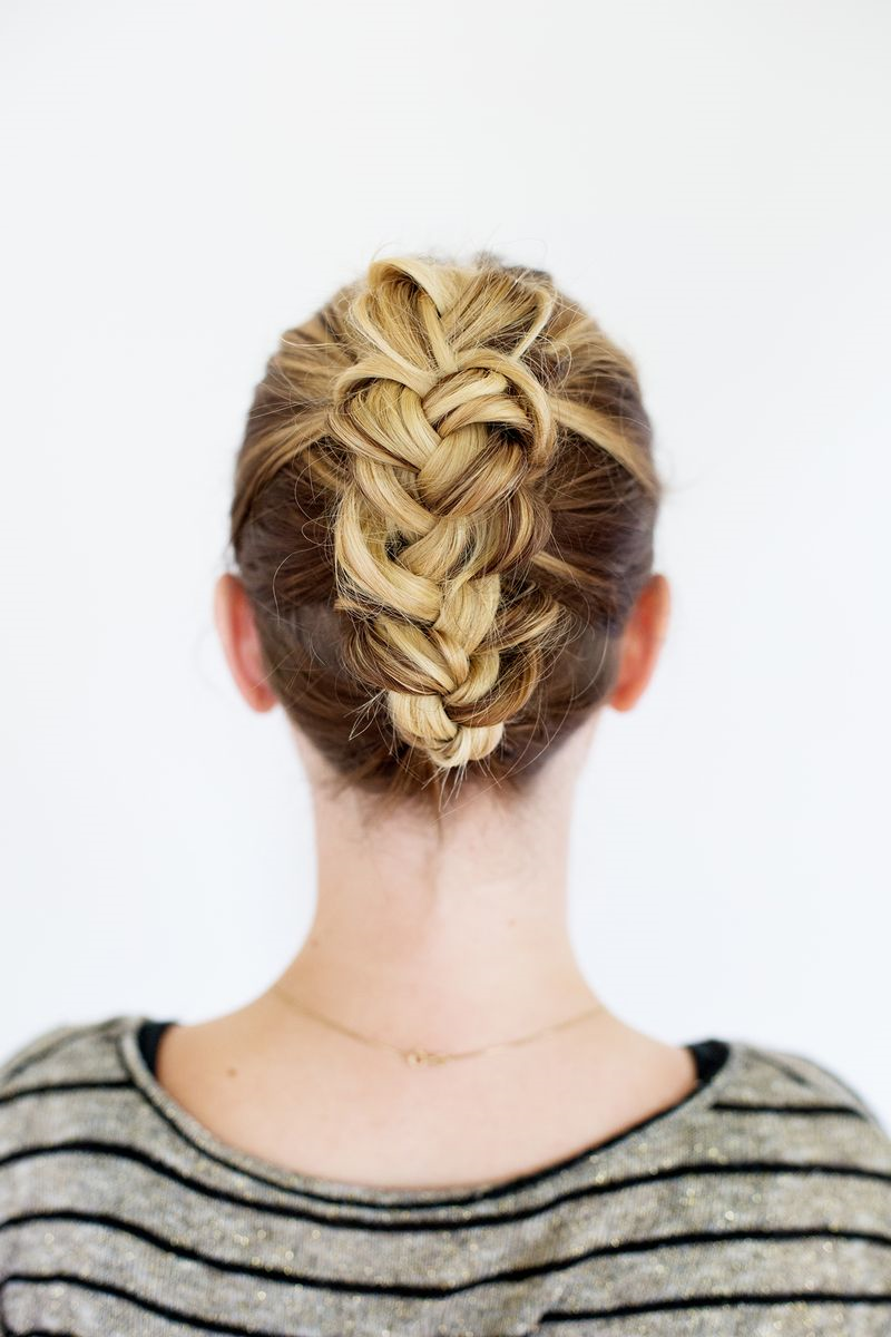 Tucked braid hairdo