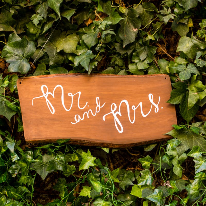Wooden mr and mrs signs