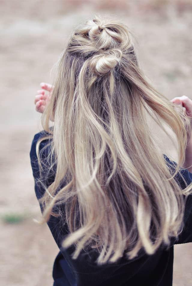 1 hair tutorial half up double knots