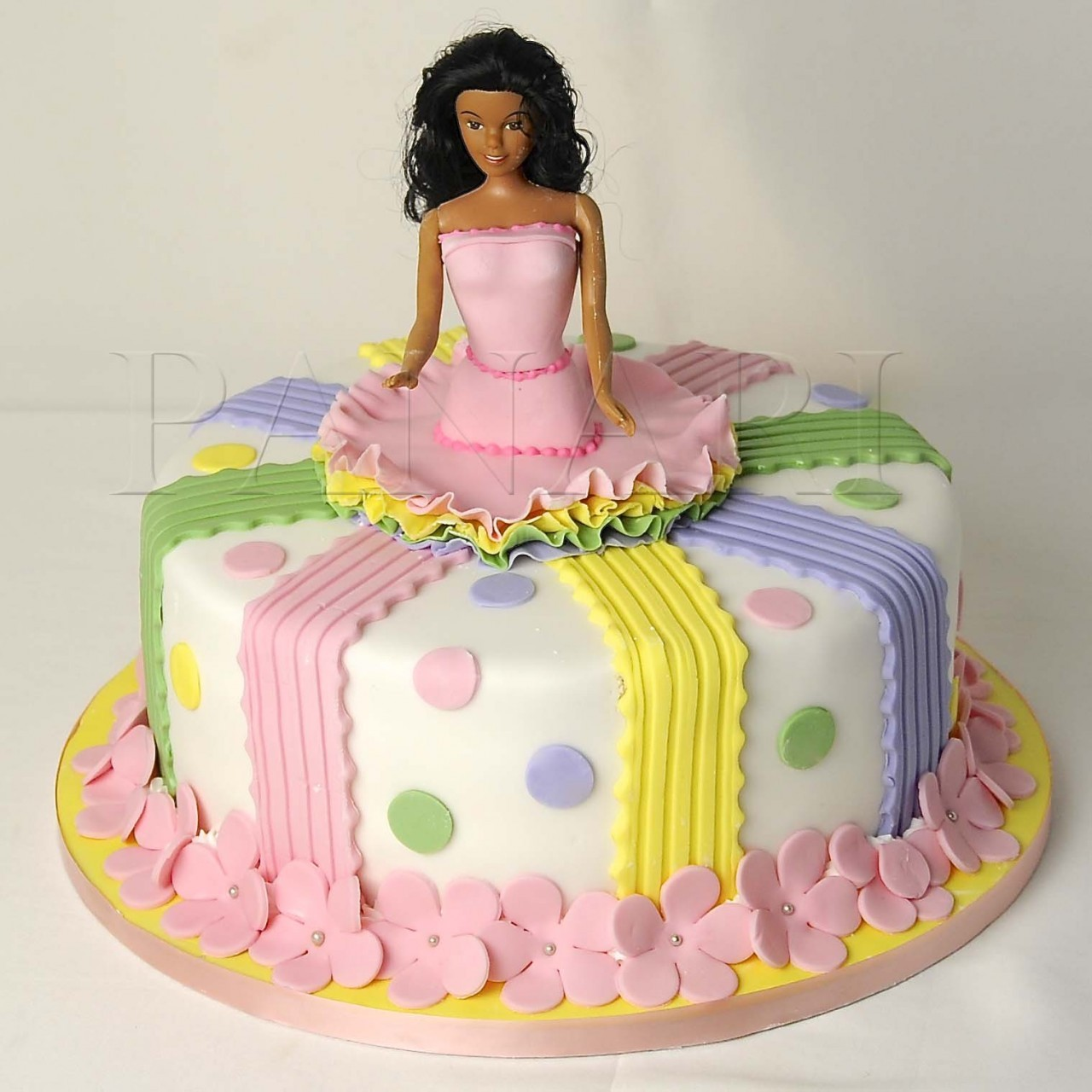 Barbie doll skirt cake